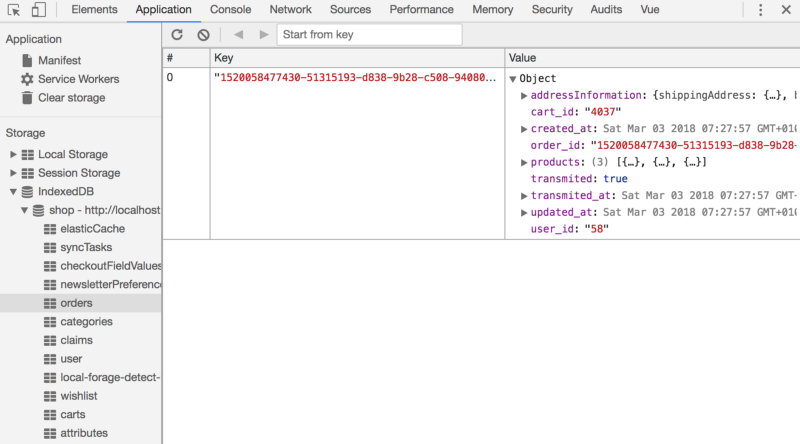 Đây là kho lưu trữ local tập hợp các đơn hàng giống như trong Developers Tools của Chrome.